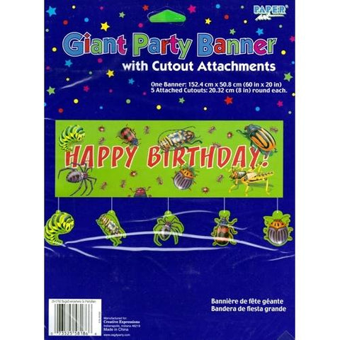 "Bugs Everywhere Giant Happy Birthday Party Banner with Cutout Attachments (60"" x 20"") only $1.00 at DollarFanatic.com America's Only Exclusively Online One Dollar Store."
