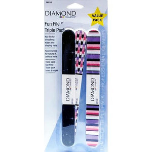 Diamond Nail Care Fun File Triple Pack (Grit 240/320) Designs Vary