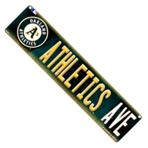 "MLB Oakland Athletics Ave 16"" x 4"" Plastic Street Sign"
