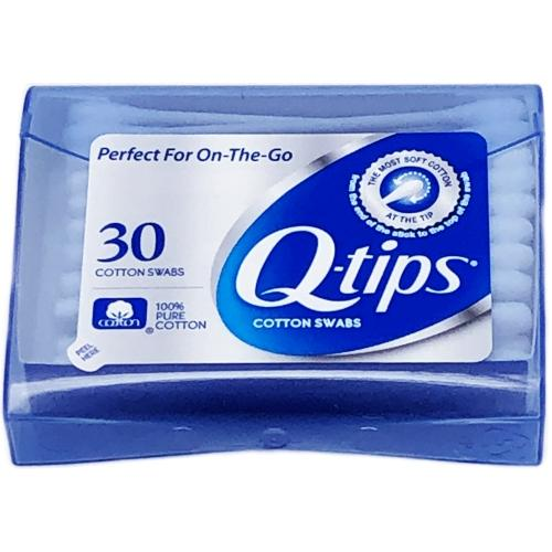 Q-tips Cotton Swabs Travel Pack in Plastic Storage Case (30 Pack)