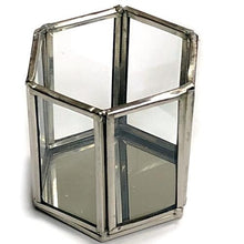 Load image into Gallery viewer, Hexagon Pewter Glass Candle Holder/Terrarium 2-Piece Set at DollarFanatic.com America's Exclusively Online Dollar Stores.