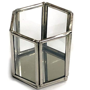 Hexagon Pewter Glass Candle Holder/Terrarium 2-Piece Set at DollarFanatic.com America's Exclusively Online Dollar Stores.
