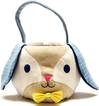 Load image into Gallery viewer, Fluffy Bunny Basket with Blue Floppy Ears and Blue/Green Handle (All Fabric Materials)