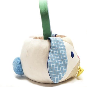 Fluffy Bunny Basket with Blue Floppy Ears and Blue/Green Handle (All Fabric Materials)