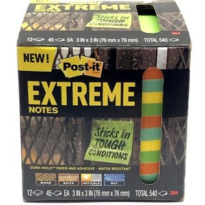Post-it 3'' x 3'' Extreme Note Pads - 45 Sheets (12 Pack) Dura-Hold - Water Resistant