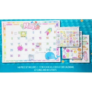 "Art Skills Dry Erase Monthly Calendar Wall Display with Clings & Cutouts (24"" x 17"") 148-Piece Set"