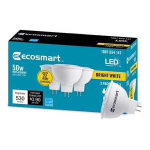 EcoSmart 7.5 Watt LED Dimmable MR16 GU5.3 Light Bulb - Bright White (1 Bulb) 50W MR16 Replacement