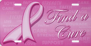 "Pink Ribbon ""Find A Cure"" Metal Vanity License Plate (Breast Cancer Awareness) 20% to 80% Off at DollarFanatic.com America's Online Dollar Store"