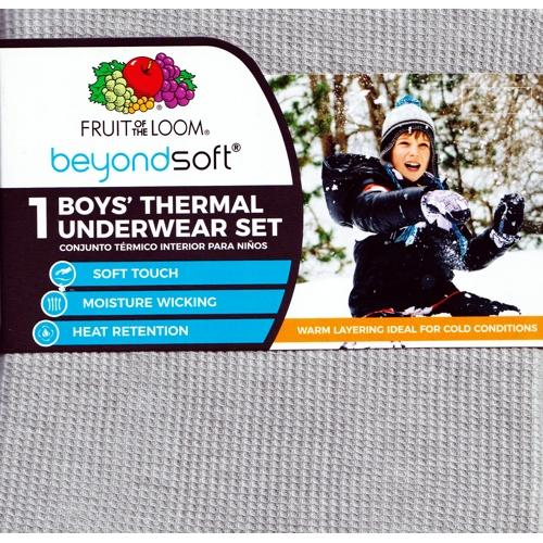Boys' BeyondSoft Thermal Underwear Set - Lt Grey Heather (Select Size)