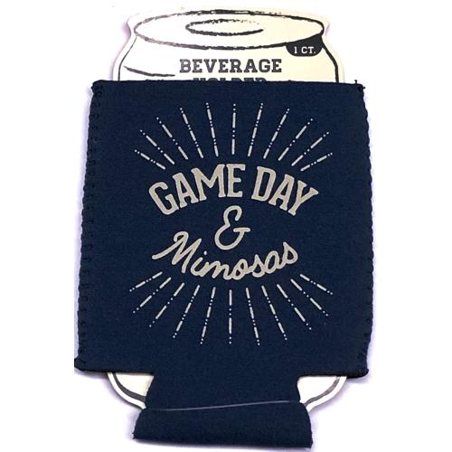 Football Game Day & Mimosas Blue Beverage Holder (Keeps Cans & Bottles Cold)