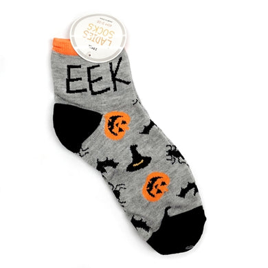 Ladies Ankle Socks - Eek Eek Spooky Halloween Socks (One Pair) 20% to 80% Off at DollarFanatic.com America's Online Dollar Store