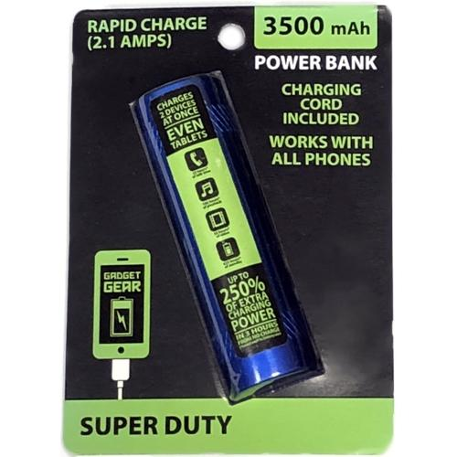 3500 mAh Rapid Charge 2.1 Amps Super Duty Power Bank (Colors Vary) at DollarFanatic.com America's Exclusively Online Dollar Stores.