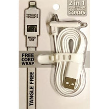 Load image into Gallery viewer, 2-in-1 Lightning/Micro USB Sync Charger USB Cable with Cord Wrap (Select Color) at DollarFanatic.com America's Exclusively Online Dollar Stores.