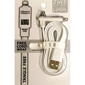 2-in-1 Lightning/Micro USB Sync Charger USB Cable with Cord Wrap (Select Color) at DollarFanatic.com America's Exclusively Online Dollar Stores.