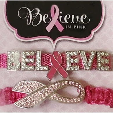 Believe in Pink Charm Bracelets (2-piece set) 20% to 80% Off at DollarFanatic.com America's Online Dollar Store