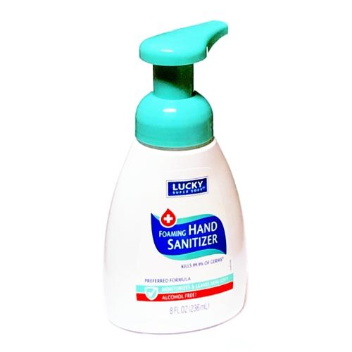 Lucky Alcohol-Free Foaming Hand Sanitizer - Preferred Formula (8 fl. oz.) Kills 99.9% of Germs