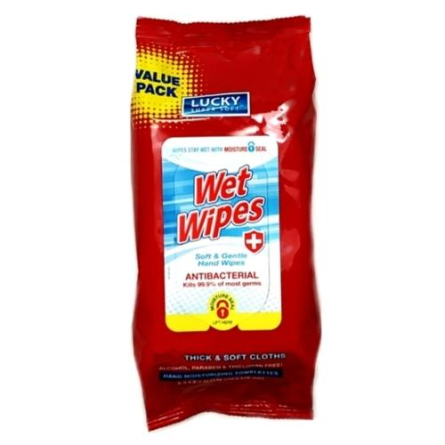 Lucky Antibacterial Wet Wipes (60 Pack) Kills 99.9% of most germs