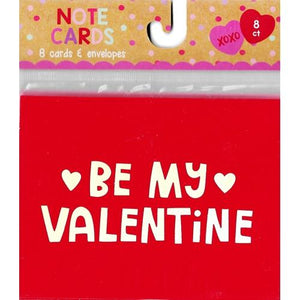 Be My Valentine Note Cards w/Pink Envelopes  (8 Pack)