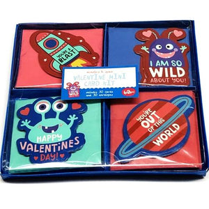 Monsters & Space Valentine Mini Note Cards w/Envelopes Kit (30 Pack)