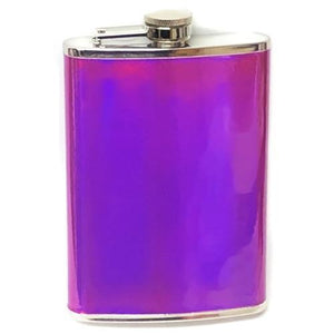 Stainless Steel Iridescent Holographic 8 oz. Flask (Select Color)