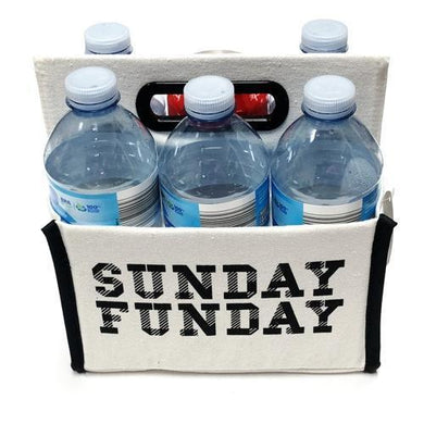 Sunday Funday Canvas Caddy (Holds 6 Cans or Bottles)