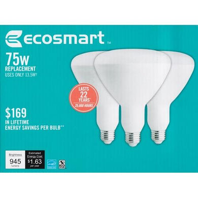 EcoSmart 13.5 Watt LED Dimmable Indoor BR40 Flood Light Bulbs - Soft White Light (3 Pack) 75W Equiv. at DollarFanatic.com America's Exclusively Online Dollar Stores.