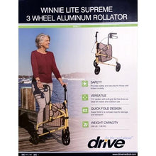Load image into Gallery viewer, Drive Winnie Lite Supreme 3-Wheel Aluminum Rollator Walker (Yellow) RTL199