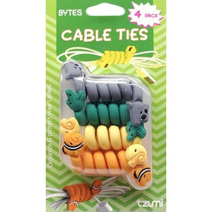 Bytes Cable Ties - 6330 Animals (4 Pack) Organize and Protect Cable Wires