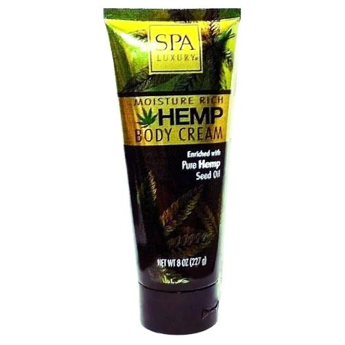 Spa Luxury Moisture Rich Hemp Body Cream (8 oz.) Enriched with Pure Hemp Seed Oil