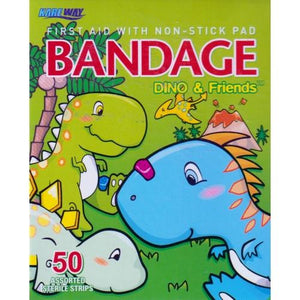 Dino & Friends Assorted Size Adhesive Bandages (50 Pack)