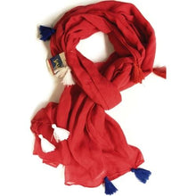 "Load image into Gallery viewer, Patriotic Red Scarf with Red White Blue Tassels (54"" x 24"")"