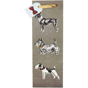 "Cakewalk Best in Show Terrier Dogs Single Bottle Gift Bag (14"" x 4.5"" x 3.5"")"