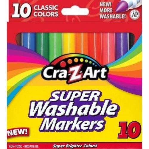Cra-Z-Art Super Washable Classic Bright Colors Non-Toxic Broad Line Markers (10 Pack)