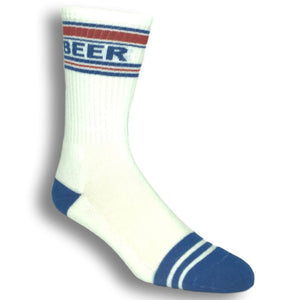 Beer Athletic Socks in White Made in the USA by Gumball Poodle - The Sock Spot