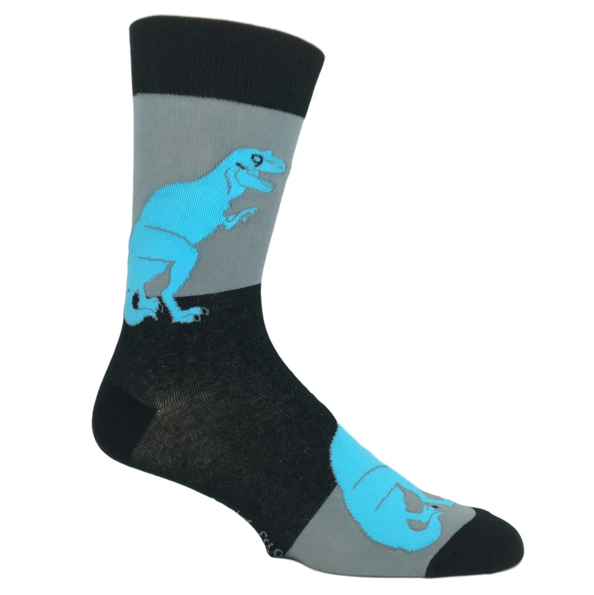 Black and Grey T-Rex Socks by Good Luck Sock - The Sock Spot