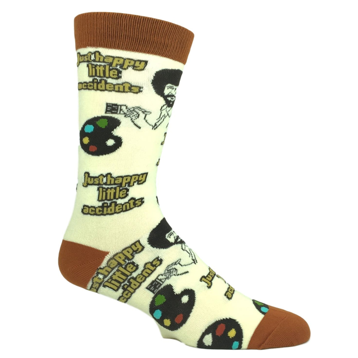 Bob Ross Happy Little Accidents Socks by Oooh Yeah Socks - The Sock Spot