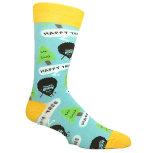 Bob Ross Happy Tree Socks in Blue by Oooh Yeah Socks - The Sock Spot