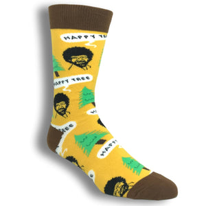 Bob Ross Happy Tree Socks in Yellow by Oooh Yeah Socks - The Sock Spot
