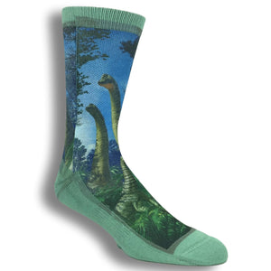 Brachiosaurus Dinosaur Printed Socks by Good Luck Sock - The Sock Spot