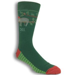 Chill, Be Cool Sloth Christmas Socks by Foot Traffic - The Sock Spot