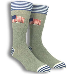 Flying Flag Socks in Grey by Hot Sox - The Sock Spot