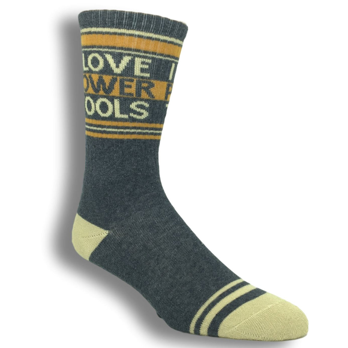 """I Love Power Tools"" Athletic Socks Made in the USA by Gumball Poodle - The Sock Spot"