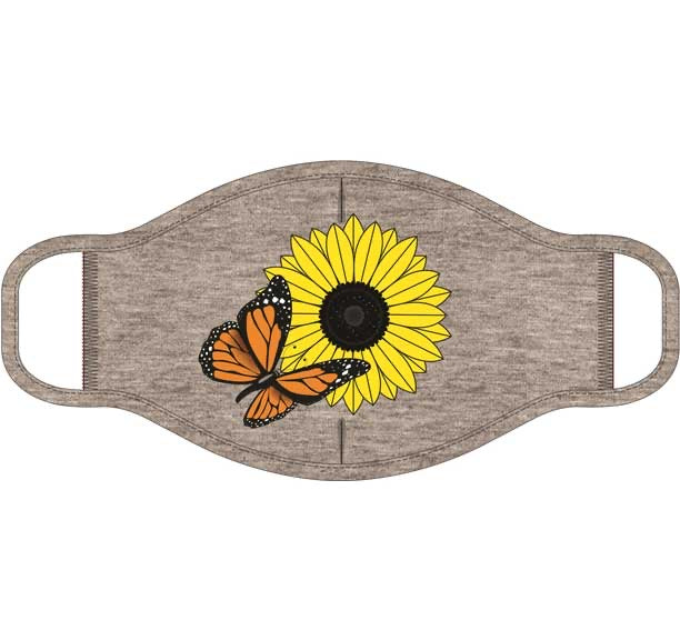 Butterfly and Flower Screen Print Mask - One Size Fits Most
