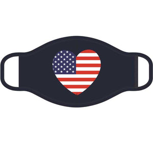 USA Heart Screen Print Mask - One Size Fits Most