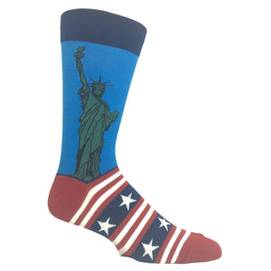 Lady Liberty Flag Socks In Blue By SockSmith