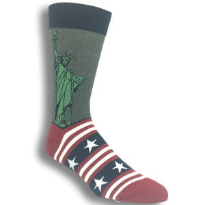 Lady Liberty Flag Socks in Grey by SockSmith - The Sock Spot