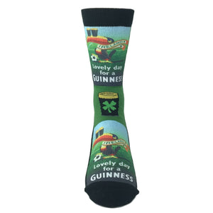 """Lovely Day for a Guinness"" Printed Socks by Good Luck Sock - The Sock Spot"