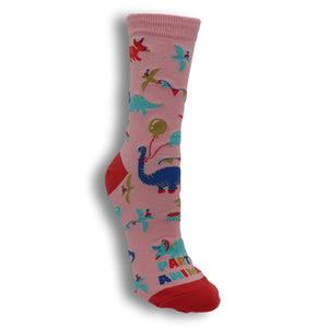 Party Animal Dinosaur Women's Socks by Sock it to Me - The Sock Spot