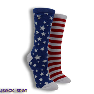 Red, White, And Blue Stars And Stripes Women's Socks By Odd Sox
