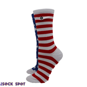 Red, White, and Blue Stars and Stripes Women's Socks by Odd Sox - The Sock Spot